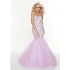 Trumpet/Mermaid sweetheart long fishtail lilac beaded prom dress
