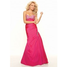 Trumpet/Mermaid sweetheart long red taffeta prom dress with beading