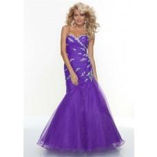 Trumpet/Mermaid sweetheart long regency organza prom dress with beading