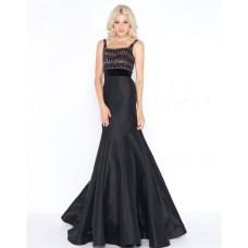 Trumpet Square Neck Black Taffeta Beaded Prom Dress With Straps