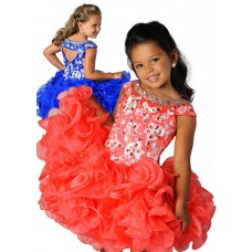 Tutu Cap Sleeve Cut Out Short Coral Organza Ruffle Beaded Girl Pageant Dress