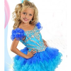Tutu Open Back Short Blue Ombre Organza Ruffle Beaded Girl Pageant Prom Dress