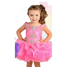 Tutu Short Hot Pink Organza Ruffle Beaded Toddle Girl Pageant Prom Dress