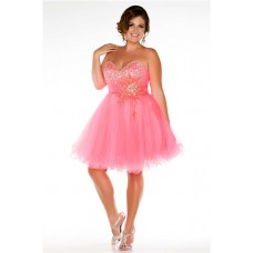 Tutu Sweetheart Short/ Mini Red Tulle Beaded Plus Size Prom Dress