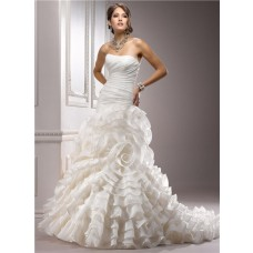 Unique A Line Strapless Layered Ivory Organza Floral Wedding Dress With Train