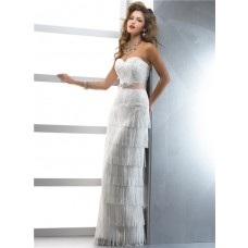 Unique Couture Sheath Sweetheart Lace Fringe Wedding Dress With Crystal Belt Slit