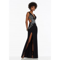 Unique Deep V Neck Side Cutout High Slit Black Jersey Beaded Prom Dress