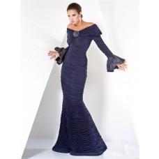 Unique Designer Mermaid Off Shoulder Navy Blue Evening Dress With Long Sleeve