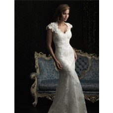 Unique Mermaid Cap Sleeve V Neck Two In One Lace Wedding Dress Open Back