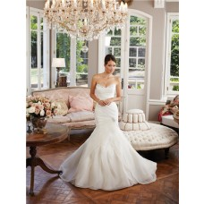 Unique Mermaid Sweetheart Layered Organza Ruffle Wedding Dress Lace Up Back