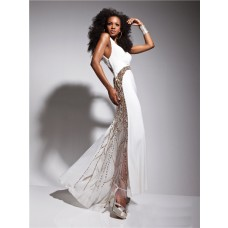 Unique Sexy One Shoulder Long White Chiffon Gold Beaded Prom Dress Cut Outs