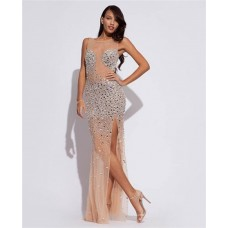 Unique Sexy Sheer Illusion Neckline Back Long Nude Tulle Silver Beading Prom Dress With Slit