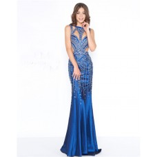 Unique Sheath Cutouts Open Back Royal Blue Taffeta Beaded Evening Prom Dress
