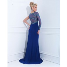 Unique Sheath One Shoulder Sheer Long Sleeve Royal Blue Chiffon Beaded Prom Dress