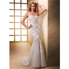 Unique Sheath One Shoulder Venice Lace Tulle Wedding Dress With Buttons