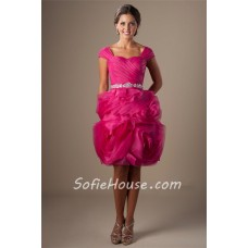 Unique Sweetheart Cap Sleeve Hot Pink Organza Floral Ruffle Short Prom Dress