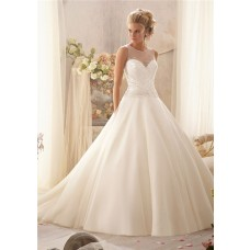 Unusual Ball Gown Illusion Neckline Sheer Back Tulle Beaded Wedding Dress With Buttons