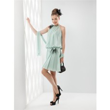 Unusual High Neck Short Mint Green Chiffon Feather Party Prom Dress With Shawl