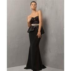 Unusual Mermaid Strapless Long Black Silk Chiffon Evening Dress With Beaded Belt