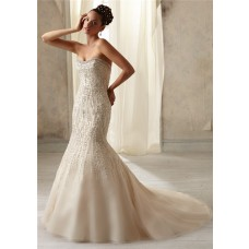 Unusual Mermaid Strapless Scoop Neck Low Back Beaded Wedding Dress With Pearls
