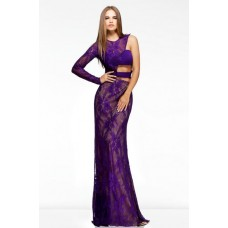 Unusual Sexy Slim One Sleeve Side Cut Out Long Purple Lace Evening Prom Dress