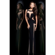 Unusual Slim Bateau Neck Long Black Chiffon Tulle See Through Evening Prom Dress Open Back