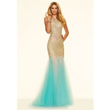 Unusual Slim Mermaid Backless Gold Lace Aqua Tulle Prom Dress