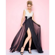 V Neck Cap Sleeve High Slit Black And White Lace Chiffon Evening Prom Dress