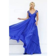 V Neck Cap Sleeve Open Back Empire Waist Royal Blue Chiffon Flowing Prom Dress