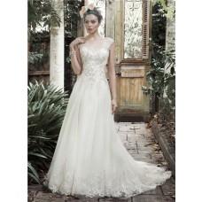 Vintage A Line Scoop Neck Low V Back Ivory Tulle Lace Wedding Dress Cap Sleeves