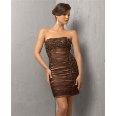 Vintage Tight Strapless Short/ Mini Brown Cocktail Evening Dress With Lace Beading
