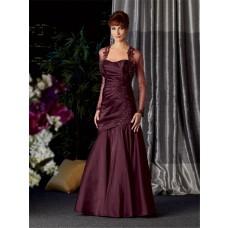 Vintage long Burgundy taffeta mother of the bride dress with jacket