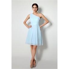 A Line One Shoulder Short Light Blue Chiffon Bridesmaid Party Dress