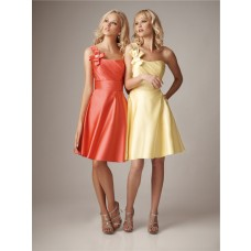 A line one shoulder short pale yellow silk satin bridesmaid dress with flower sash
