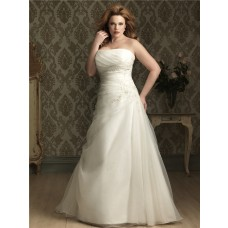 A line/ Princess strapless chapel train organza plus size wedding dress with applique and buttons