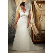 A Line Scalloped V Neck Empire Waist Open Keyhole Back Plus Size Lace Wedding Dress