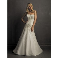 A Line Strapless Satin Organza Wedding Dress With Embroidery Beading Pearl
