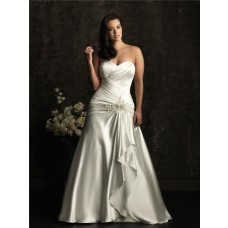 A line sweetheart court train silk satin plus size vintage wedding dress with beading and corset