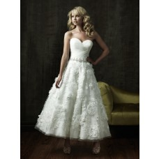 A Line Sweetheart Tea Length Lace Floral Destination Beach Garden Wedding Dress