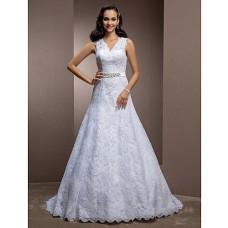 A Line V Neck Keyhole Back Lace Wedding Dress With Beaded Belt