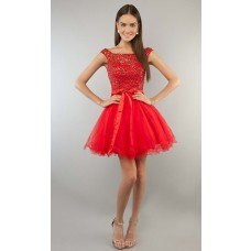 Ball Gown Strapless Sweetheart Short Mini Red Tulle Lace Beaded Cocktail Prom Dress