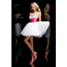Ball Spaghetti Strap Short White Tulle Beaded Tutu Cocktail Prom Dress With Sash