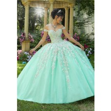 Beautiful Ball Gown Prom Dress Mint Green Tulle Lace  Quinceanera Dress Off The Shoulder