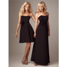 Elegant strapless chocolate brown chiffon bridesmaid dress with feathers flowers belt