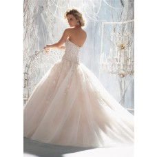 Fairy Tale Ball Gown Sweetheart Organza Ruffle Beaded Pearl Wedding Dress With Flowers