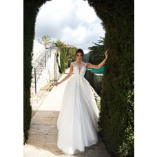 Fairy Princess Wedding Dress Illusion Neckline Tulle With Flowers Beads