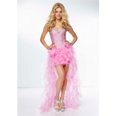 Fashion High Low Sweetheart Corset Back Pink Organza Ruffle Beaded Prom Dress