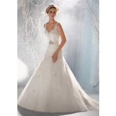 Slim A Line V Neck Organza Lace Beaded Wedding Dress With Crystal Sash Straps