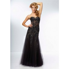 Fitted Sweetheart Sheer See Through Long Black Tulle Lace Beaded Prom Dress