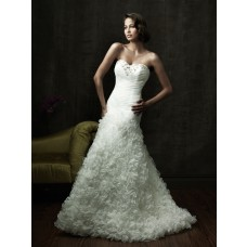 Fitted A Line Sweetheart Organza Ruffles Floral Wedding Dress Corset Back